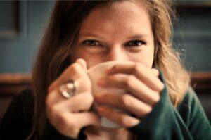 woman drinking mug