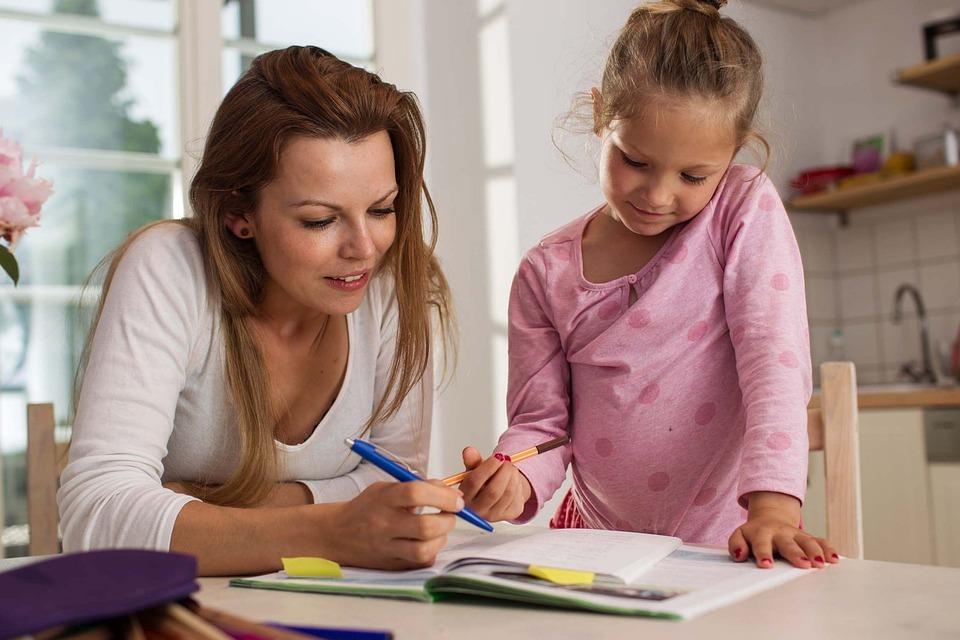 Mom and child homework