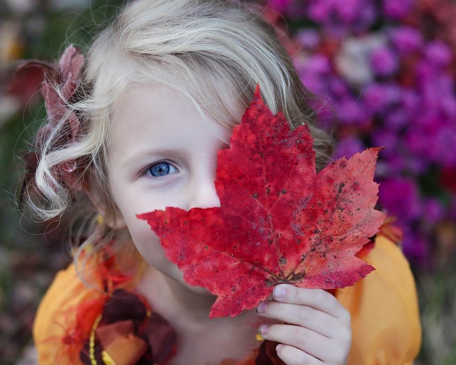 girl fall leaf